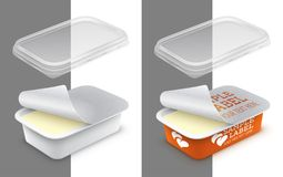 Vector labeled open rectangular plastic container with foil. Transparent lid and butter, melted cheese or yoghurt within. Packaging mockup illustration stock illustration