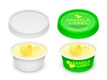 Vector labeled plastic round container with butter within. Vector labeled plastic empty open round container with butter, melted cheese or margarine spread stock illustration