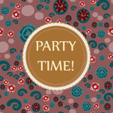 Round vintage frame in Brown Beige on funny childish seamless background. Perfect for greeting cards, wedding Royalty Free Stock Photo