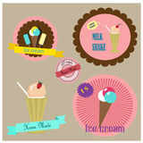 Vector labels and badges for sweet shops Royalty Free Stock Photos