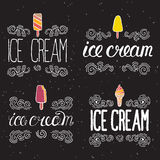 Vector labels with ice cream Royalty Free Stock Photography
