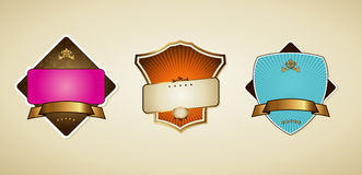 Vector labels with ribbon. Royalty Free Stock Photo