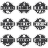 Vector labels set of alcohol drinks Royalty Free Stock Image