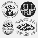 Vector labels. Set of vintage badges with mountain. Vector illustration Stock Photos