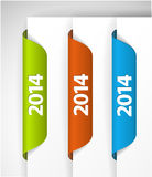 Vector 2014 Labels / Stickers on the edge of the (web) page Stock Photography