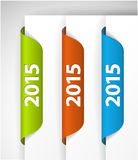 Vector 2015 Labels / Stickers on the edge of the (web) page. Green, blue, red Stock Images