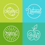 Vector labels in trendy mono line style Royalty Free Stock Images