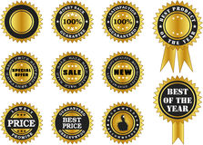 Vector labels of variour labels in gold Stock Photos