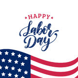 Vector Labor Day greeting or invitation card. American holiday illustration with USA flag. Poster with hand lettering. Stock Photos