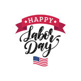 Vector Labor Day greeting or invitation card. American holiday illustration with USA flag. Poster with hand lettering. Vector Labor Day greeting or invitation Royalty Free Stock Photo