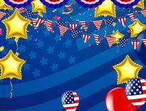 Vector Labor Day greeting or invitation card. National american. Holiday illustration with USA flag , September 7th, United state of America Stock Photo