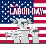Vector Labor Day greeting or invitation card. National american holiday illustration with USA flag. Festive poster or banner with hand lettering Royalty Free Stock Photos