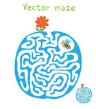 Vector Labyrinth, Labyrinth mit Fliegen-Biene und Blume Lizenzfreies Stockfoto
