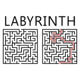 Vector labyrinth with solution Royalty Free Stock Photography