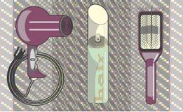 Vector a laca do cabelo das imagens, um pente para cuidados capilares ilustração stock