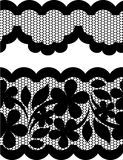 Vector lace. Docorative black lace with flowers Royalty Free Stock Image