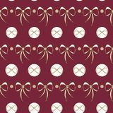 Vector Lace Bows on deep red seamless background. stock illustration