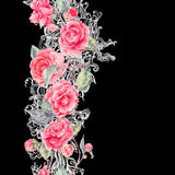 Vector lace and camellia flowers seamless border Stock Photo