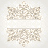 Vector lace card in east style on moroccan seamless background. Stock Images
