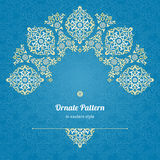 Vector lace card in Eastern style on scroll work background. Stock Photo