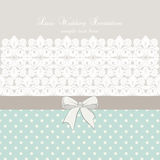Vector lace crochet card background with bow and retro dotted design Stock Photography