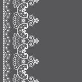 Vector lace seamless pattern, retro wedding lace border or frame design in white on gray background vector illustration
