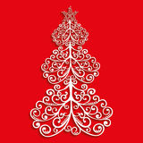 Vector lace tree of the flourishes with a star on red background Royalty Free Stock Image