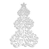 Vector lace tree of the flourishes with a star on white background Royalty Free Stock Image