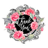 Vector lace wreath with camellia flowers Stock Images