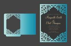 Laser cut envelope. Vector Lacer cut pocket envelope. Ornamental pattern vector illustration