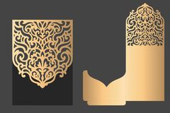 Laser cut pocket envelope. Vector Lacer cut pocket envelope. Ornamental pattern Royalty Free Stock Photo