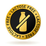Vector lactose free gold medal. Vector gold medal with symbol of lactose free Stock Photo