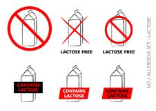 Vector Lactose Free Symbols on white background stock photos
