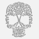 Vector lacy skull with curls and hearts, paper texture Royalty Free Stock Photos