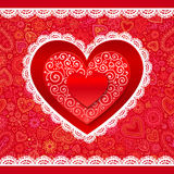 Vector lacy Valentines day hearts greeting card Stock Photos