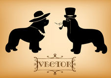 Vector Lady and Gentleman illustration with newfoundland dogs Royalty Free Stock Photo
