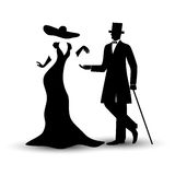 Vector Lady and gentleman in vintage, man in a tuxedo with a cane, girl in a long dress and hat, black hand drawing silhouette. Lady and gentleman in vintage Stock Photos