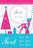 Vector Lady Santa card. Vector Santa with gifts and New year tree card. Vintage and retro royalty free illustration