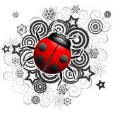 Vector ladybug illustration. On floral pattern Royalty Free Stock Image