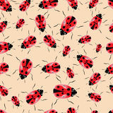 Vector ladybugs on a light background.Seamless Stock Photography