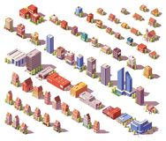 Vector lage poly isometrische geplaatste gebouwen vector illustratie