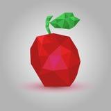 Vector lage poly van een rode appel op een grijze achtergrond Stock Fotografie