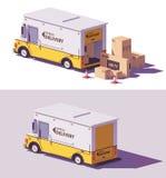 Vector lage polyleveringsbestelwagen stock illustratie