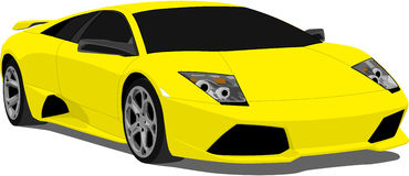 Vector Lamborghini Murcielago. A Yellow Lamborghini murcielago eps saved in layers for easy editing stock illustration