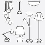 Vector of lamp collection, types of lighting Royalty Free Stock Images