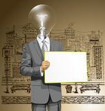 Vector Lamp Head Business Man with Empty Write Board Stock Photography