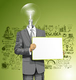 Vector Lamp Head Business Man with Empty Write Board Royalty Free Stock Photos