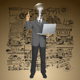 Vector Lamp Head Business Man Shows Something With Finger Royalty Free Stock Photography