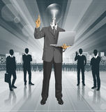 Vector Lamp Head Business Man Shows Something With Finger Royalty Free Stock Photo