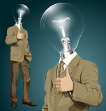 Vector Lamp Head Business Man Shows Well Done Stock Image